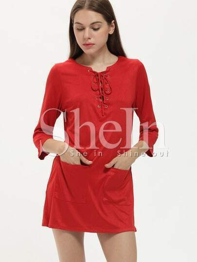 Red Ruby Lacing Lace Up Pockets Dress
