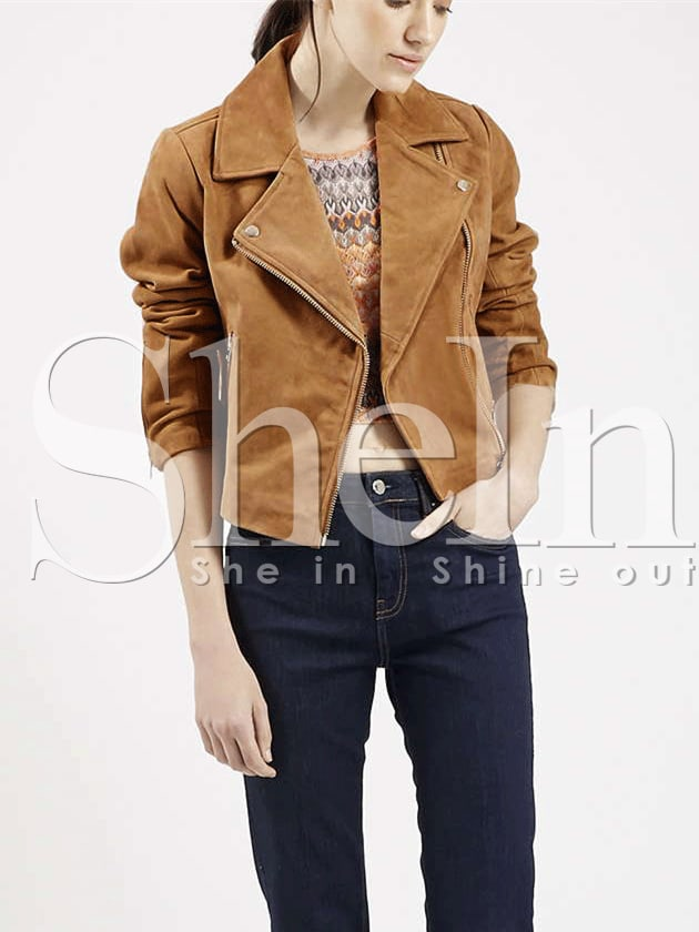 Brown Long Sleeve Lapel Zipper Jacket