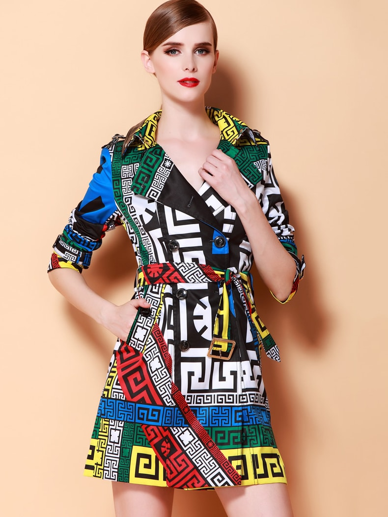 Multicolor Lapel Long Sleeve Belt Print Coat