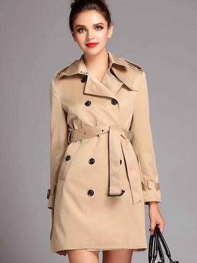 Khaki Lapel Long Sleeve Belt Coat