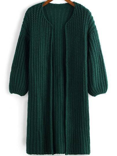 Green Long Sleeve Chunky Casual Cardigan