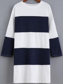 Navy Woven Round Neck Striped Loose Dress