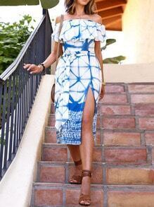 Blue White Boat Neck Tie-waist Dress
