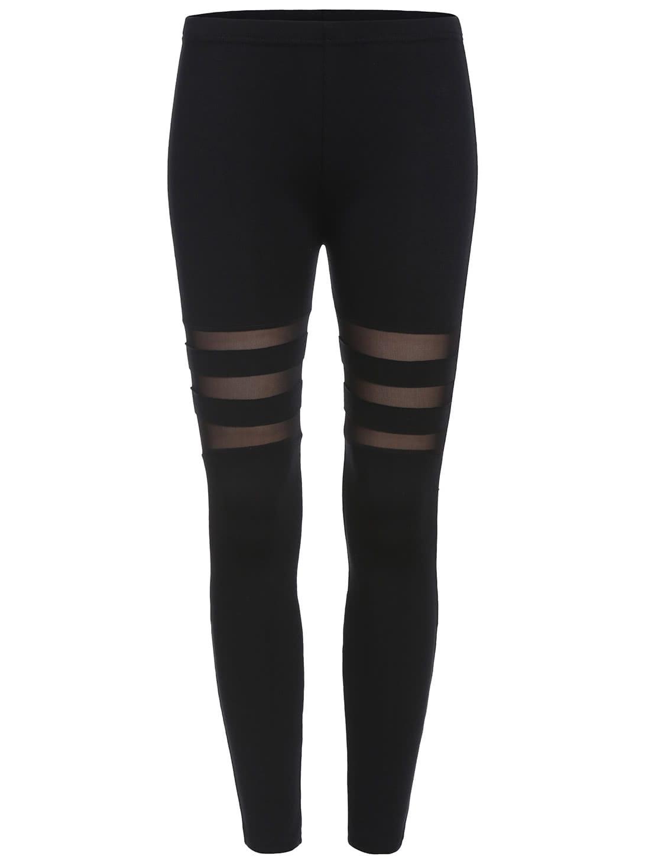 Black Skinny Sheer Mesh Leggings -SheIn(Sheinside)