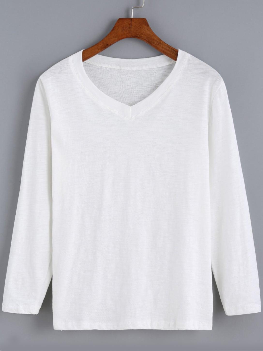 White v neck long sleeve casual t shirt shein sheinside for Long white v neck t shirt
