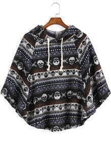 Multicolor Hooded Skull Print Cape