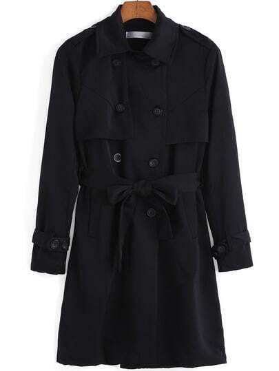 Black Lapel Double Breasted Trench Coat