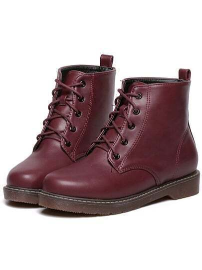 Wine Red Casual Round Toe PU Boots