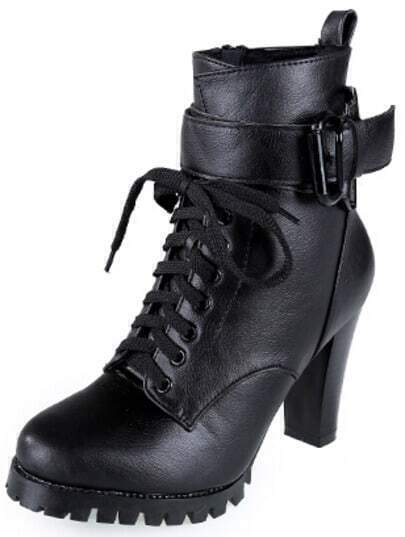 Black Buckle Strap High Heel Boots