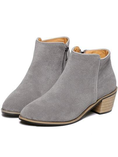 Grey Chunky Heel Zipper Casual Boots