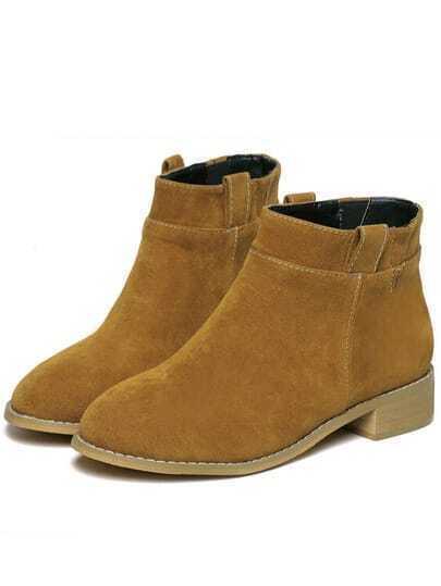 Brown Chunky Heel Round Toe Boots