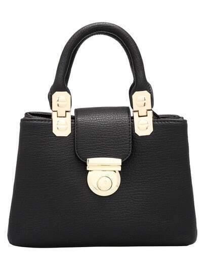 Black Push Lock Metallic Embellished Bag