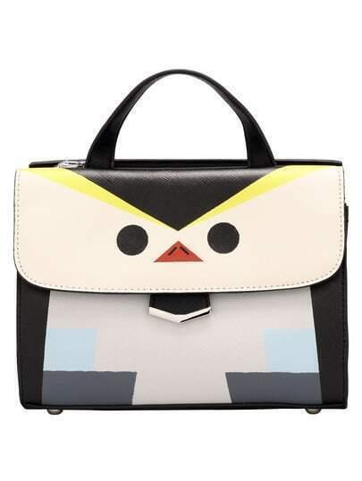 Color-block Magnetic Cartton Pattern Bag