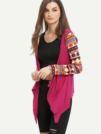 Rose Red  Geometric Print Drape Front Knit Cardigan pictures