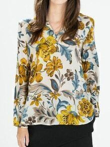 Multicolor Long Sleeve Floral Dip Hem Blouse