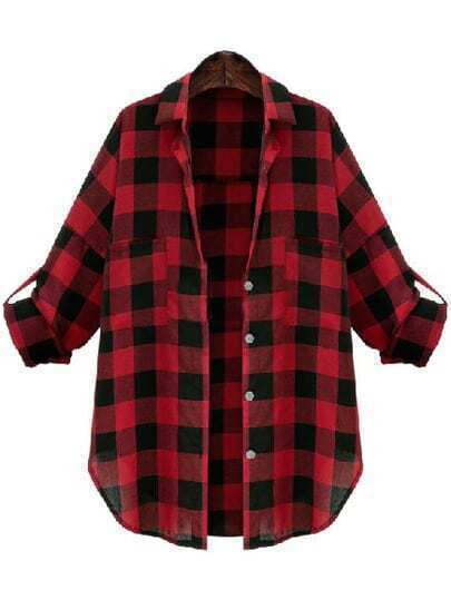 Red Black Lapel Checks Plaid Pockets Blouse