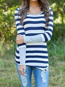 Blue White Striped Asymmetrical Slim Top