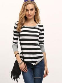 Black White Striped Asymmetrical Slim Top