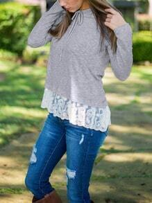 Grey Hooded Peplum Hem Slim Top