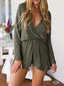 Army Green Deep V Neck Ruffle Jumpsuit