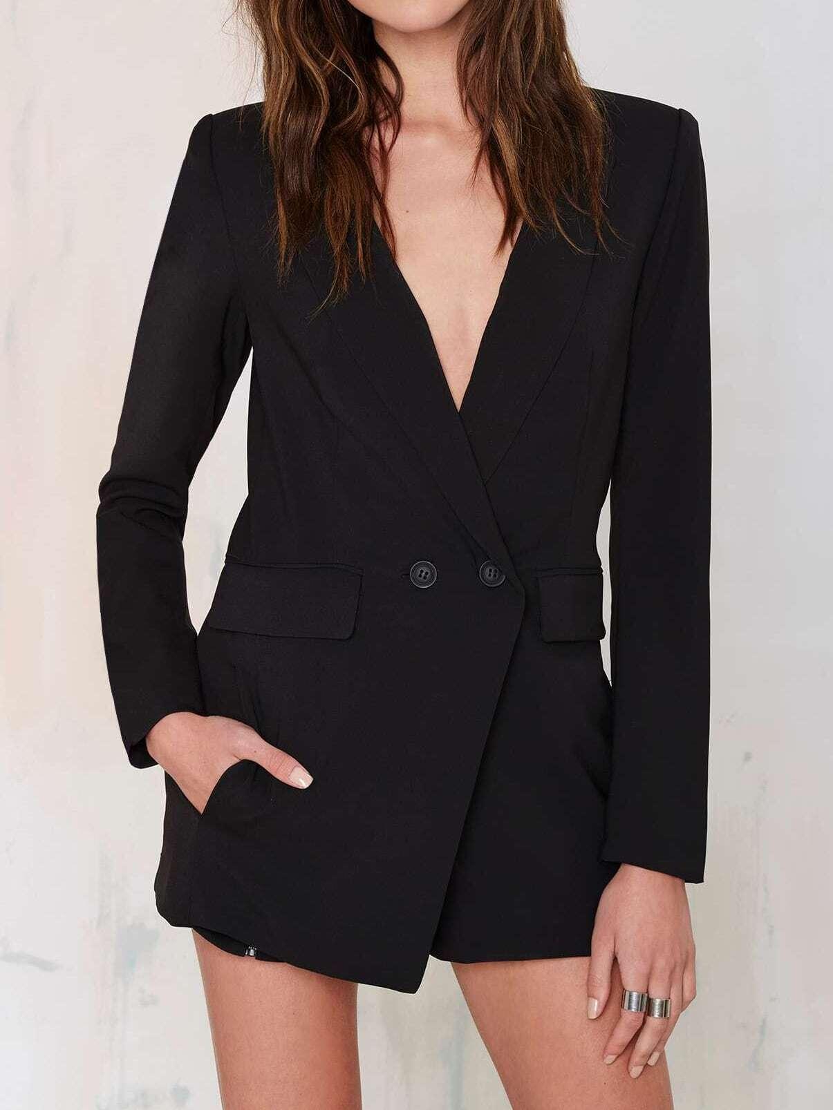 Black Lapel Double Breasted Blazer Jumpsuit