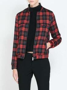 Red Blue Stand Collar Plaid Crop Jacket