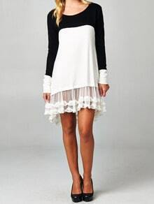 Black White Raglan Round Neck Sheer Lace Drop Waist Dress