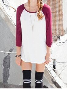 Red White Round Neck Loose Casual Dress