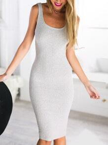 Grey Strap Slim Knit Bodycon Dress