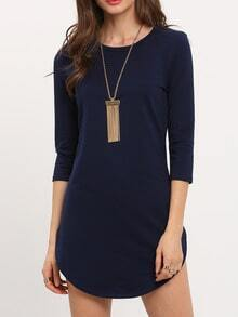 Navy Round Neck Split Bodycon Dress