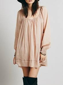 Apricot Pima Cheesecloth Long Sleeve Backless Dress