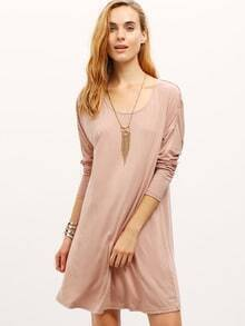 Nude Mocha Round Neck Casual Dress
