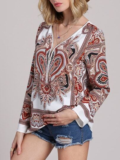 Multicolor Long Sleeve Vintage Print Blouse pictures