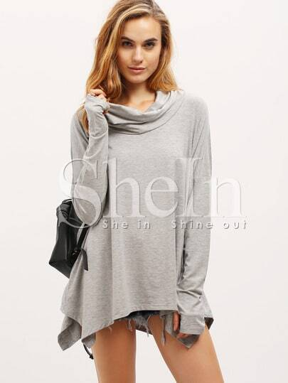 Grey Long Sleeve Unique Loose T-Shirt