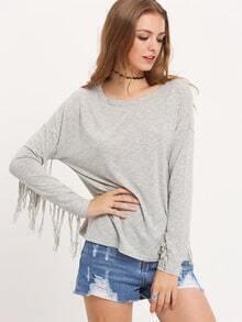 Grey Round Neck Tassel T-Shirt