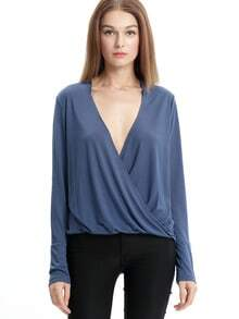 Blue Long Sleeve Deep V Neck T-Shirt