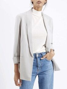 Grey Long Sleeve Pockets Blazer
