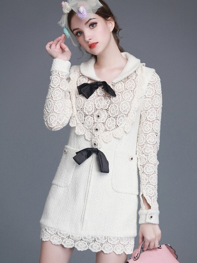 Beige Lapel Long Sleeve Bow Tie Hollow Crochet Dress