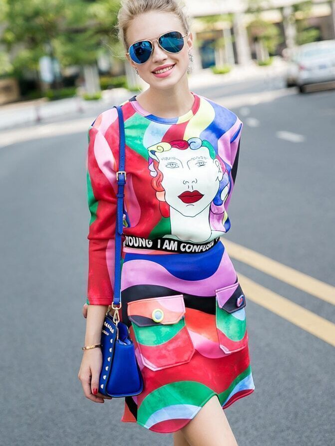 Multicolor Round Neck Length Sleeve Print Two Pieces Dress