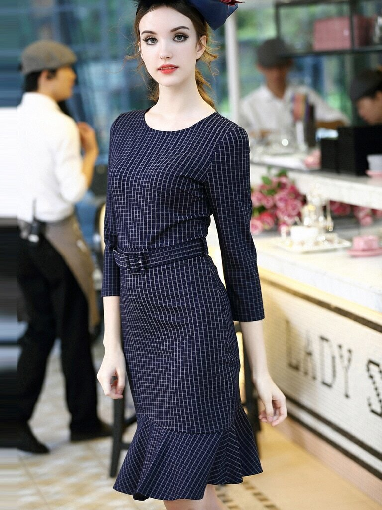 Navy Round Neck Length Sleeve Drawstring Fishtail Dress
