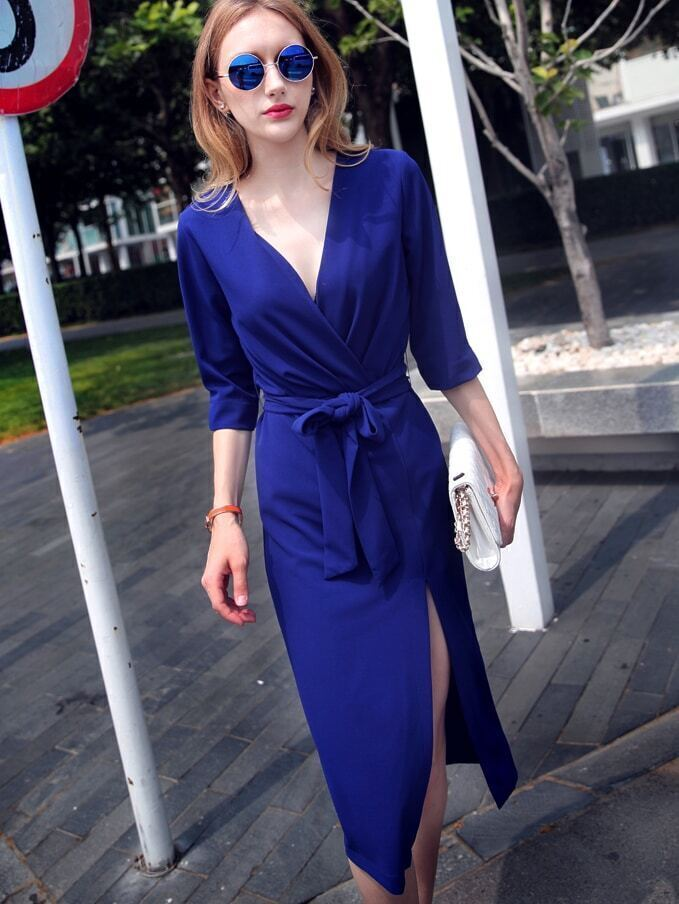 Blue V Neck Half Sleeve Tie-Waist Thigh Split Dress