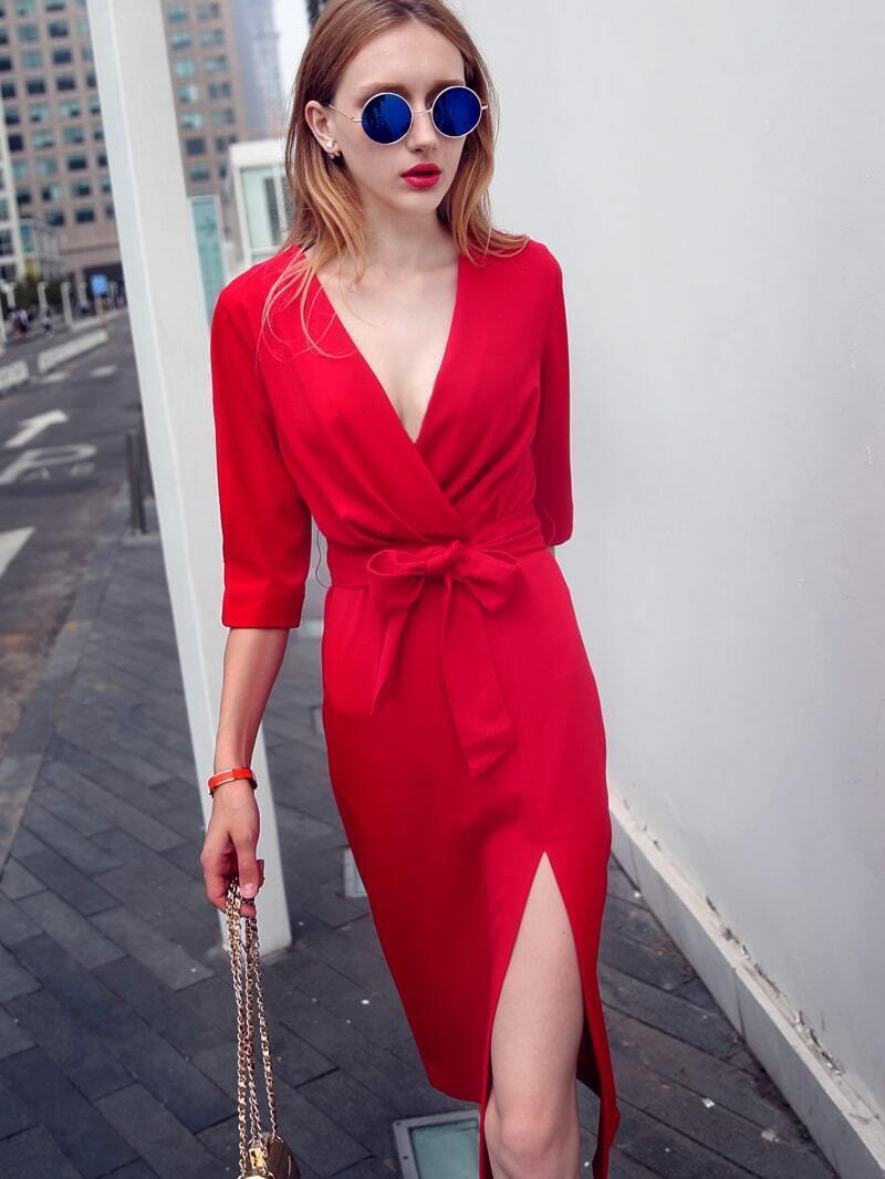 Red V Neck Half Sleeve Tie-Waist Thigh Split Dress