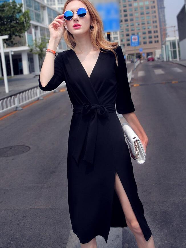 Black V Neck Half Sleeve Tie-Waist Thigh Split Dress