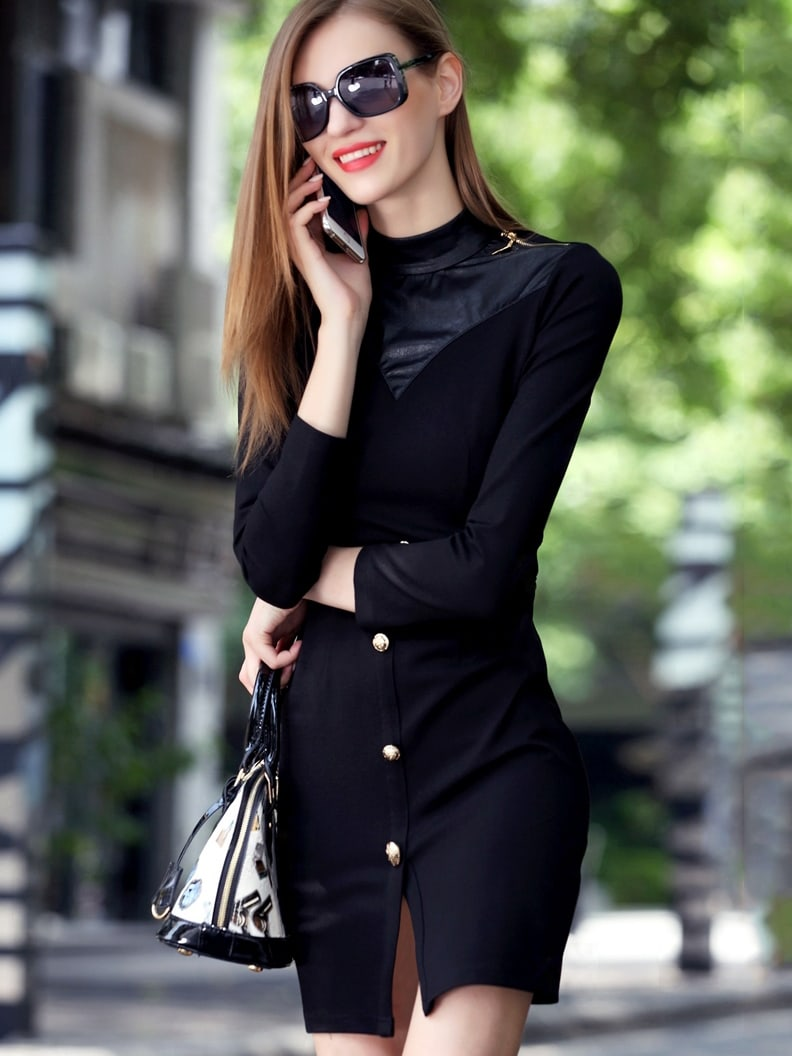 Black Stand Collar Length Sleeve Contrast PU Dress