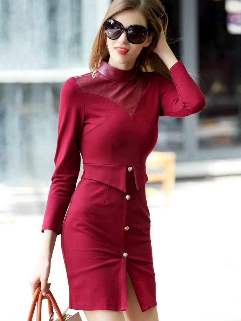 Win Red Stand Collar Length Sleeve Contrast PU Dress