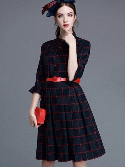 Red Lapel Half Sleeve Drawstring Dress