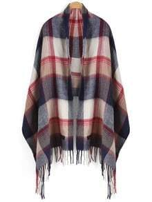 Multicolor Plaid Tassel Scarve