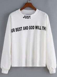 White Round Neck Letters Print Crop Sweatshirt