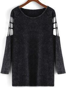 Black Round Neck Hollow Sleeve Loose Top