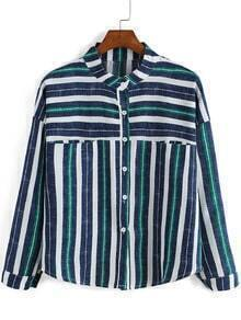 Blue Green Stand Collar Striped Crop Blouse